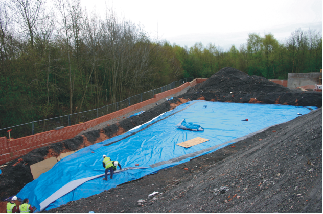 Root barrier membrane used to stop Japanese knotweed growing through on a development site