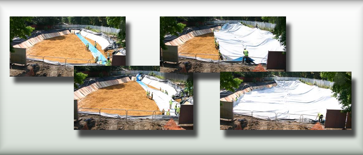 The stages of laying out a large custom-made sheet of root barrier on a new-build development